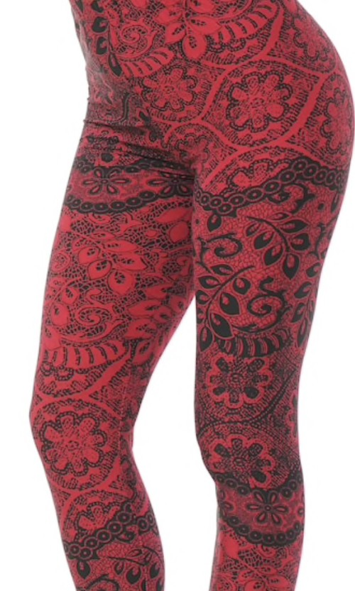Cranberry Enchanted Lace Leggings