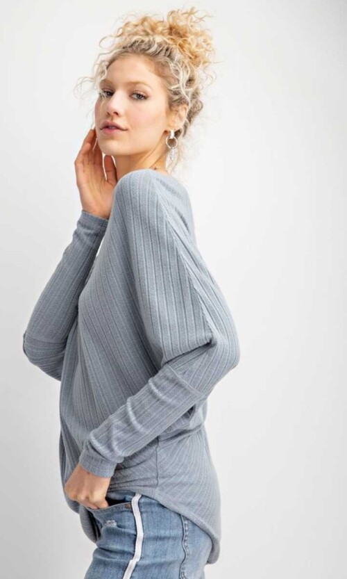 Off Shoulder Sweater in Faded Blue