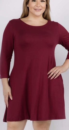 Tunics with Pockets - Burgandy in Plus Size